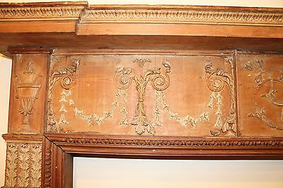 18th Century Adams Fireplace Mantel Carved Wood Basket, Urns, Floral Swags Etc. 5