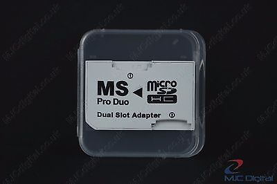 Memory Card Dual 2 Slot Adapter Micro SD TF to MS Pro Duo PSP  in a BOX, HQ 2