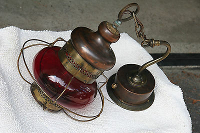 ANTIQUE BRASS AND COPPER NAUTICAL SHIPS LANTERN RED