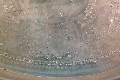 """Vintage Chinese Hand Carved Brass 29"""" Rimmed Oval Table Tray/Top 6"""