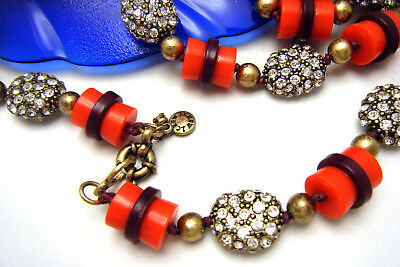 Gorgeous Vintage J Crew Necklace Red Purple Lucite Rhinestone Studded Beads