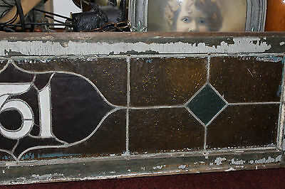 Antique Stained Glass Window-751 Street Number-Wood Frame-Large Size Window-LQQK 4