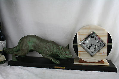 XXL ART DECO 1937 French Fox spelter bronze marked clock marble base rare 3