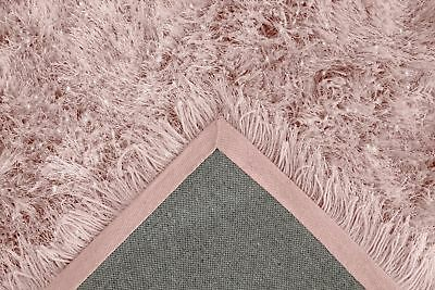 Blush Pink Large SHAGGY Floor RUG Soft SPARKLE Shimmer Extra Thick 9cm Pile 9