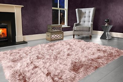 Blush Pink Large SHAGGY Floor RUG Soft SPARKLE Shimmer Extra Thick 9cm Pile 3