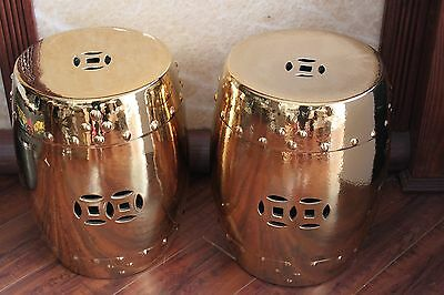 Pair Of Chinese Garden Porcelain Stools or Drum Tables 3