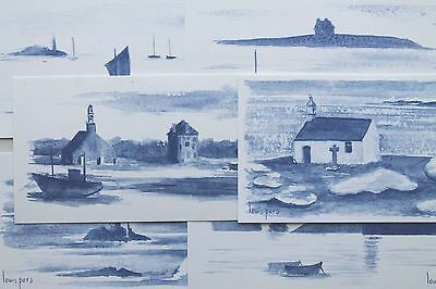 Aquarelle Bretagne carte postale art naif breton peinture aquarelle bretagne bleue lot