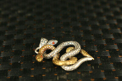 solid Silver Hand Carved Dual Snake Statue Pendant Netsuke gift decorate 4