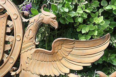 19C Solid Bronze Winged Griffin Fantasy/Mythological Architectural Pediment 7