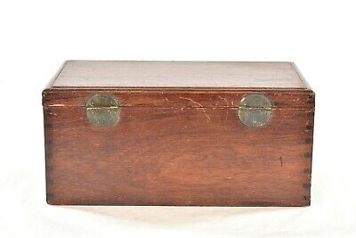 Antique Chinese Red Wooden Jewelry Box with Brass Hardware 3