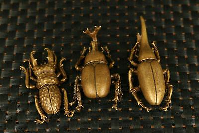 unique bronze 3 a set beetle Statue figure netsuke tea tray decorate tea pet 3