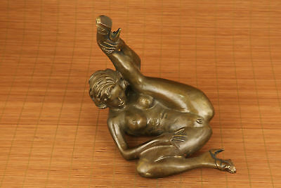 "9"" Antiques big copper hand carved statue collectable woman Statue 2"