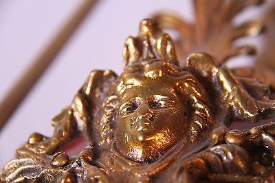 Vintage Brass/Bronze Spherical Chandelier Cherub/Masks/Stars 9