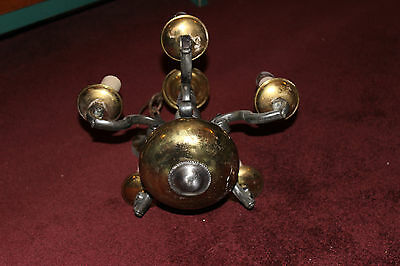 Vintage French Gothic Style Chandelier-5 Lights-Pewter & Brass Light Fixture