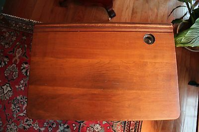 Antique School Desk with Original Inkwell and Folding Seat 4