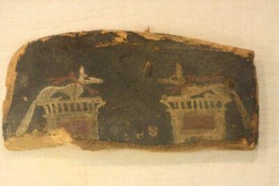 Antique Ancient Egyptian Painted Saite Period 800-400 B.C. Wooden Fragment 2