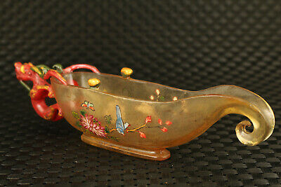 Chinese rare old coloured glaze hand painting dragon statue glass wine cup 5