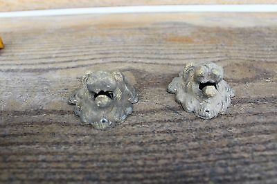 Lot Of 2 Antique Furniture Drawer Pulls Victorian Style Lion Face Brass Ornement 5