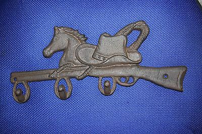 "(4) Cast Iron Farm And Ranch Wall Hook, Cowboy Hat Horse Design, 12 1/2"",w-12 6"