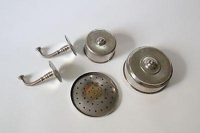 antique bathroom cup soap holder | vtg brass nickel victorian bath tumbler 8