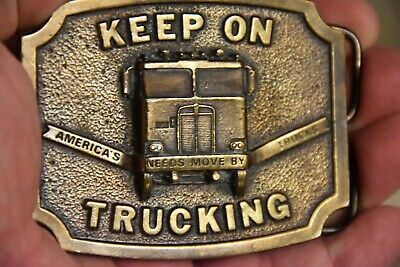 Vintage 1975 KEEP ON TRUCKING Belt Buckle Bergamot Brass Works Americas Needs 4
