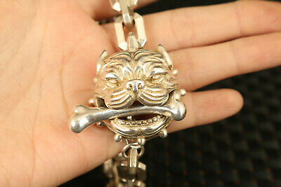 chinese rare old miao silver hand carved dog head statue bracelet decorate 5