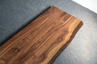 Schreibtischplatte holz  TISCHPLATTE PLATTE NUSSBAUM Massiv Holz mit Baumkante NEU Leimholz ...