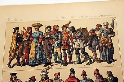 Antique MIDDLE AGES COSTUME Print by F. Hottenroth-1884 FRENCH 15th Century #3