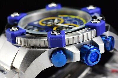 "Invicta 63mm Reserve Grand Octane Arsenal ""PINNACLE"" Swiss Silver Blue SS Watch 7"