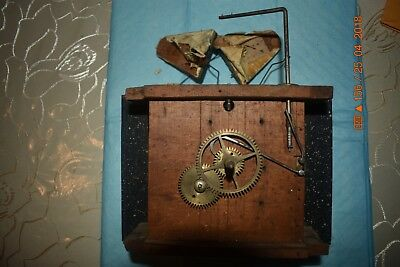 ANTIQUE Black Forest CUCKOO WOODEN PLATES CLOCK MOVEMENT BEHA??? for parts 6