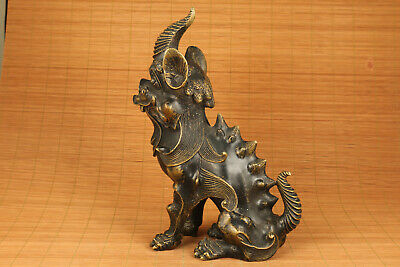Big Antique bronze hand carved unicorn statue collectable home decoration 5