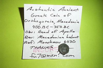 RARE Ancient GREEK COIN macedonian helmet ORTHAGOREIA MACEDONIA apollo mythology 3