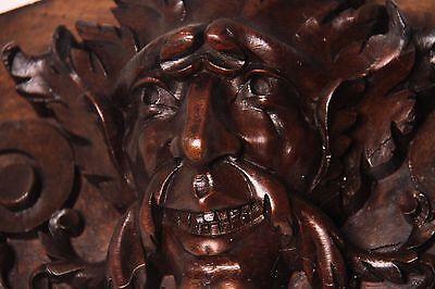 19C French Gothic Fantasy Carved Oak Mythological Gargoyle Mask Pediment PAIR 4