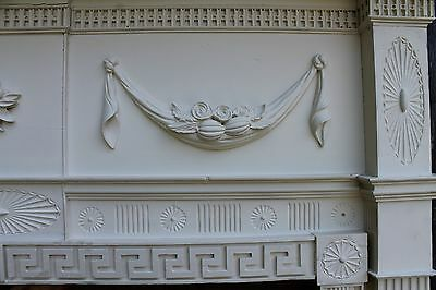 18th Century Fireplace Mantel Chip Carved Pinwheels, Ovals, W Added Swags,Basket 3