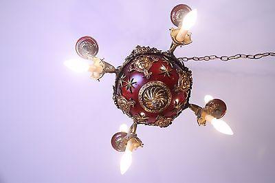 Vintage Brass/Bronze Spherical Chandelier Cherub/Masks/Stars 4