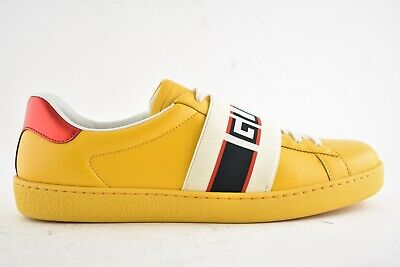 100% authentic factory authentic competitive price GUCCI MENS YELLOW New Ace Elastic Band Leather Flat Low Top ...