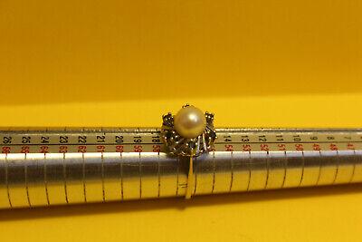 Damen Ring 585 Gold  14ct. 1 Perle 6 Saphir, 18mm #8154 8