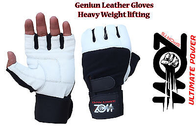 Leather Gym Gloves Weight Lifting Gloves Body Building Training Exercise Workout 3