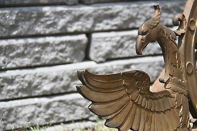 19C Solid Bronze Winged Griffin Fantasy/Mythological Architectural Pediment 10
