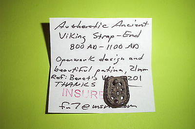Authentic Ancient VIKING STRAP END openwork artifact Jewelry old tool antiquity 4 • CAD $490.74