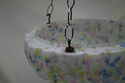chandelier  LARGE DELICATE PASTEL GLASS BOWL   ex country house loft 1930S 4