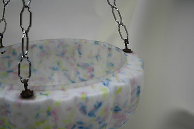 chandelier  LARGE DELICATE PASTEL GLASS BOWL   ex country house loft 1930S 5