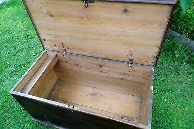 Antique Victorian Old Pine Chest / Trunk / Blanket Box c1860 11