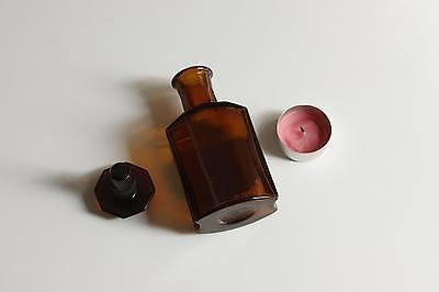 Apothekerflasche, Form selten, TINCT. LOBELIAE rund mit 4 Kanten,alt,emailliert 2