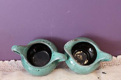 Vintage Evangeline Canadian Art Pottery Cream And Sugar - Drip Glaze 5
