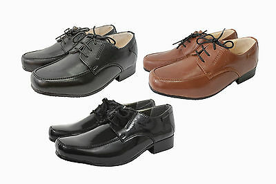 Boys brown Smart Formal Shoes  Laces Wedding Infant Junior communion party