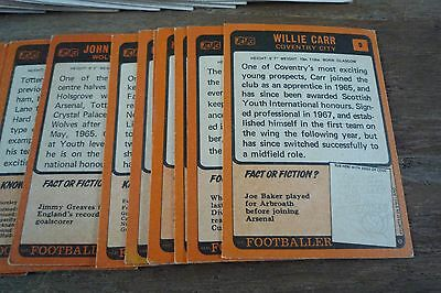 A&BC Orange Back Football Cards 1970 - First Series VGC! Pick The Cards You Need 3