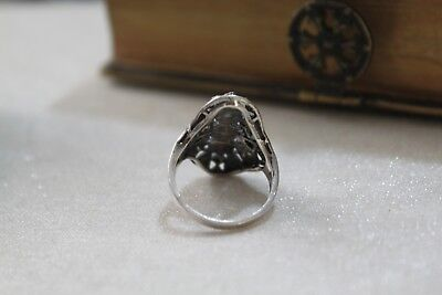 ART DECO vintage STERLING Silver MARCASITE Ring  7 1/2 9