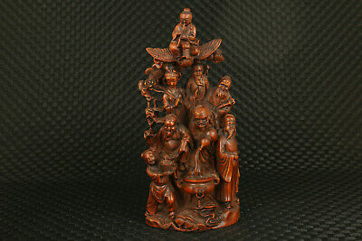 Chinese old boxwood  hand carving Eight Immortals statue noble decoration gift 10