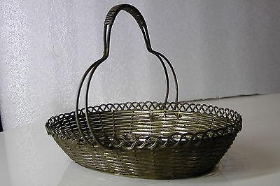 Korb mit Henkel geflochten, Metall, sehr schönes Muster 40er 5